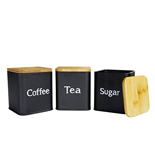 Snack Jars Airtight Kitchen Food Storage Containers 3 Pcs Kitchen Canister Set, Coffee, Sugar, and Tea Storage Container Jars with Bamboo Lids