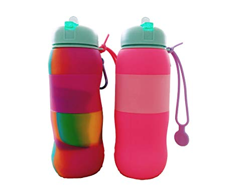 Best Starloop 2 Pack Collapsible Kids Water Bottle Silicone Outdoor Water Canteen - Silicone Foldable with Leak Proof Valve BPA Free, (Pink+Mix)