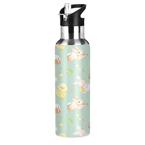 xigua Botella de agua deportiva con pajita, doble pared aislada al vacío con mango ancho, 650 ml