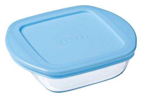 Pyrex Baby Storage - Recipiente cuadrado, 14 x 12 cm, 35 cl, transparente + tapa, color azul