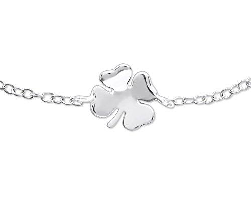 réglable – Trèfle – Bracelet argent sterling 925 – Longueur : 18 cm/17,8 cm – Coffret cadeau inclus – La Rose & Silver Company – Rs0543