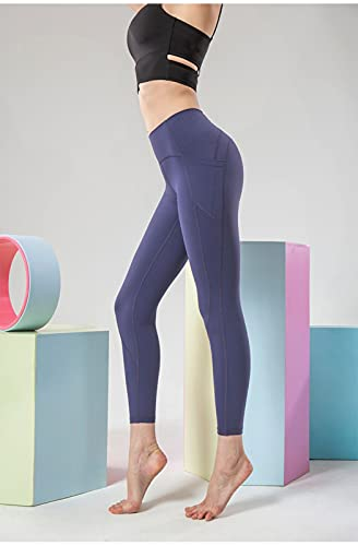 Cintura Alta Pantalones de Yoga por Mujer Barriguita Control Ejercicio Corriendo Medias Gimnasio Deportes Polainas con Bolsillos (Color : D, Size : X-Large)