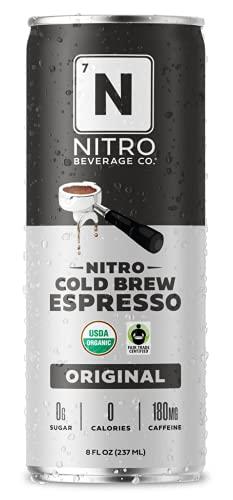 NITRO Beverage Co.   Espresso Nitro Cold Brew Coffee   Organic and Non-GMO   Sugar and Dairy-Free   Vegan   Fair Trade Certified   8 oz. Cans (12-Pack)
