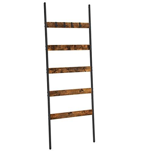 VASAGLE Escalera para Toallas, Escalera Decorativa, 65 cm de Ancho, Marco de Acero, para Mantas, Toallas, Bufandas, Estilo Industrial, Marrón Rústico y Negro LLS011B01