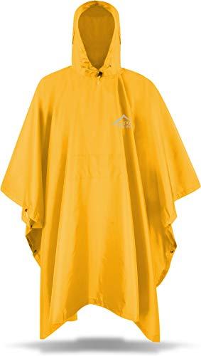 Circle Five Erwachsenen Premium Outdoor Rip-Stop Regenponcho Regencape mit Kapuze für Herren und Damen - 100% Wasserdicht (Wassersäule: 6000 mm) - inkl. Transportbeutel Farbe Gelb