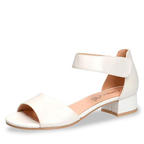 Caprice 28212-22 Damen Sandalette aus Glattleder mit 35-mm-Absatz in Weite G, Groesse 41, weiß