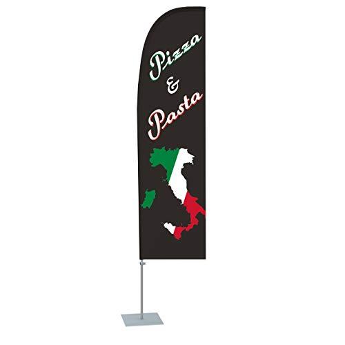 Vispronet 2,50 m Beachflag - Pizza & Pasta Italien ✓ versch. Bodenelemente ✓ gerade Form ✓ Indoor & Outdoor (Bodenplatte 30x30 cm)