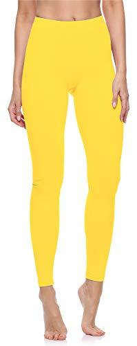 Merry Style Leggings Lunghi Pantaloni Donna MS10-198 (Giallo, L)