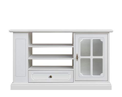 Arteferretto Meuble Support TV en Bois laqué Blanc, avec Porte vitrée, 1 tiroir, étagères réglables et rayonnage latéral, Design Italien, Meuble livré monté
