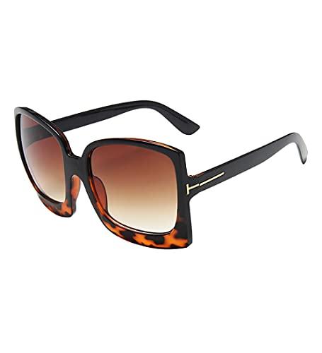 besbomig Gafas de Sol de Gran Tamaño Gafas de Moda con Montura Cuadrada con Estuche, Protección UV y Peso Ligero, para Mujeres