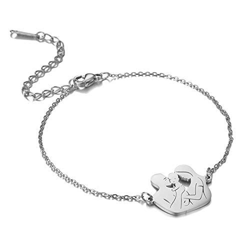LIDABAO Pulsera con cadena de acero inoxidable para mamá y papá para el Día de la Madre
