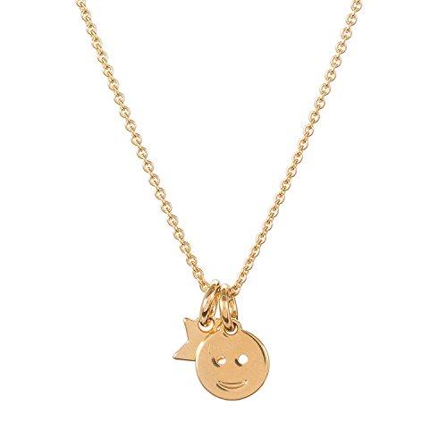Malaika Raiss Halskette Damen Smiley und Stern Charm-Anhänger 24 Karat vergoldet - N3167a