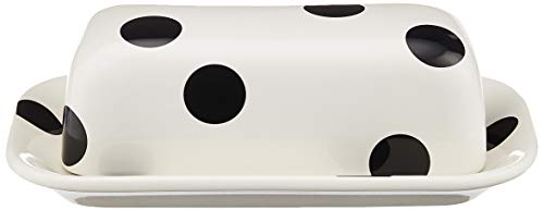 Kate Spade New York 856724 Deco Dot Covered Butter Dish, Stoneware, White