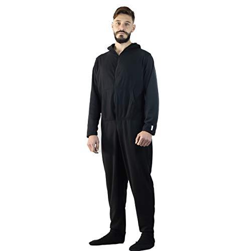 Pijama Macacão Adulto Em Soft Com Pé E Sola Em Neoprene (P, PRETO)