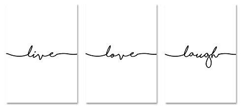PICSonPAPER Poster 3er-Set live, Love, Laugh, ungerahmt 30 cm x 40 cm, Dekoration, Kunstdruck, Wandbild, Typographie, Geschenk (Ohne Rahmen DIN A3)