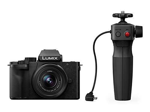 Panasonic Lumix DC-G110VEG-K Systemkamera (20 MP, 4K, Bildstabilisator, 7,5cm Touch, 12-60mm Objektiv, Stativgriff, schwarz)