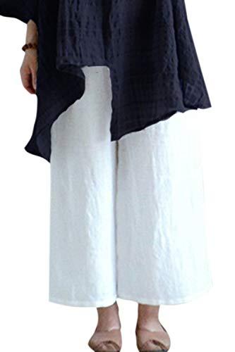 Pantalones Palazzo Informales De Lino Vintage De Talle Alto Talla Grande Pantalones Largos De Mujer Blanco 4XL