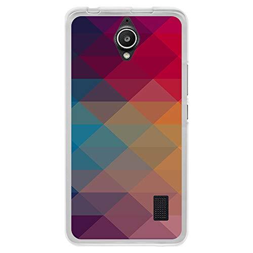 BJJ SHOP Funda Transparente para [ Huawei Y635 ], Carcasa de Silicona Flexible TPU, diseño: Formas piramidales