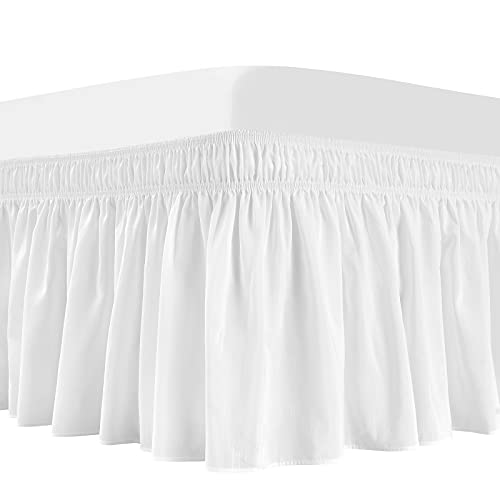 Vocander White Bed Skirt Queen Size, Elastic Dust Ruffle 15 inch Drop, Wrap-Around Adjustable Bedskirt, Easy-Install Wrinkle/Fade Resistance