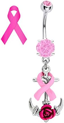 Pink Ribbon Anchor Breast Cancer Awareness Nautical Boating Belly Button Navel Piercing bar Body Jewelry 14g