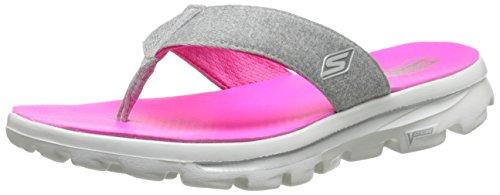 Skechers Performance Women's Go Walk Move Solstice Flip Flop,Gray/Pink,8 M US