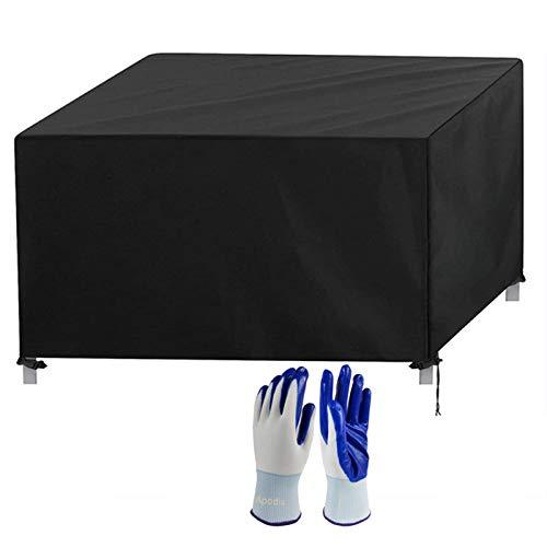Apodis Funda Protectora Muebles Jardin Impermeable Cubierta de Mesas Rectangular, Paño Oxford Resistente al Desgarro para Proteccion Mesas y Sillas, 123×61×72cm Negro