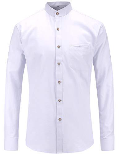 JEETOO Herren Langarm Oxford Hemd Modell Slim Fit Stehkragen Bügelleicht (XXX-Large, Weiß)
