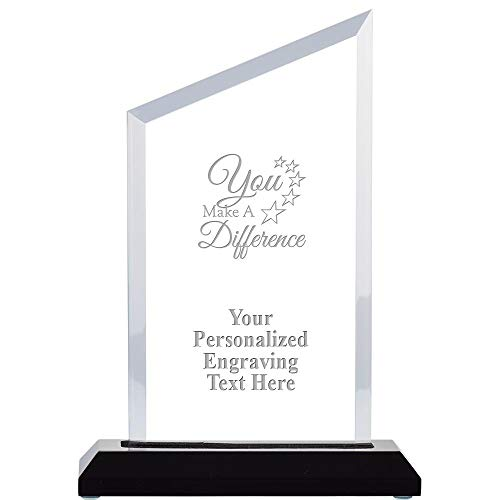 """You Make A Difference Acrylic Award, 8"""" H Personalized Acrylic Award Trophy with Custom Engraving"""