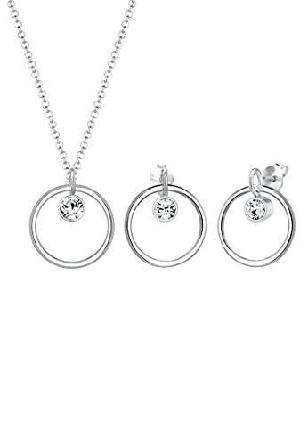 Elli Schmuckset Damen Halskette+Ohrringe Kreis Geo mit Kristalle in 925 Sterling Silber