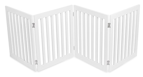 Internet#039s Best Traditional Pet Gate  4 Panel  24 Inch Step Over Fence  Free Standing Folding Z Shape Indoor Doorway Hall Stairs Dog Puppy Gate  White  MDF