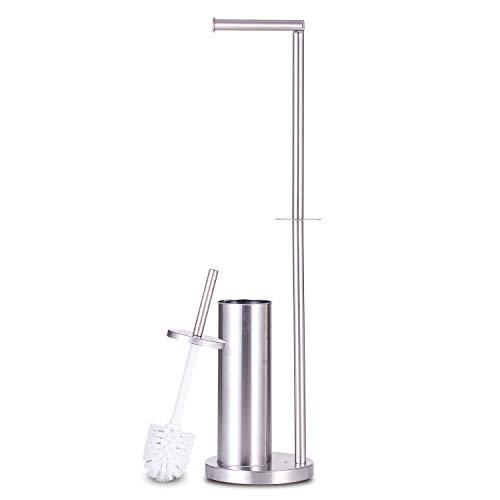 MASEN Toilet Paper Holder Stand, 3 in 1 Stainless Steel Freestanding Toilet Roll Holder Storage with Toilet Brush for Bathroom (Silver)