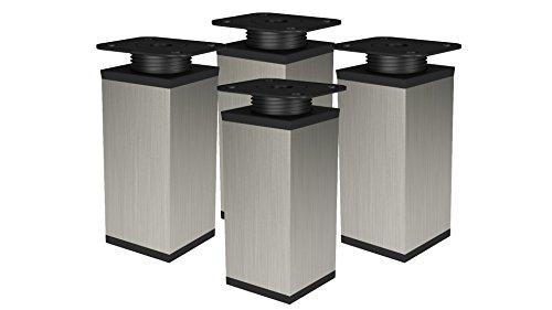 Patas para Muebles INOX Patas Regulables para Muebles Metal Pies Perfil Cuadrado Aluminio 40x40 Juego de 4 Patas Muebles Regulables (100mm, INOX)