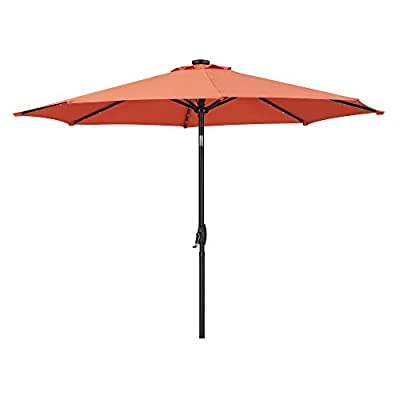 Diophros Outdoor 9ft Solar Powered 32 LED Lighted Patio Umbrella Table Market Umbrella with Crank Lift System and Push Button Tilt for Garden, Backyard, Pool and Beach