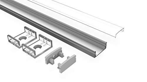 Tivendis LED Aluminium Profil 2m Set 6-teilig milchig | AF Aluprofil für LED Streifen bis 12 mm | LED Profil indirekte Beleuchtung | Aluprofil LED Leiste Küche Decke | Aluminium U Profil LED