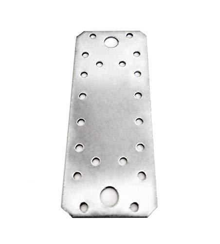 Paquete de 10 piezas de alta resistencia 2,0 mm de grosor, 140 x 55 mm, placa de unión plana de conexión, acero galvanizado, 5,51 x 2,17 x 0,08 pulgadas
