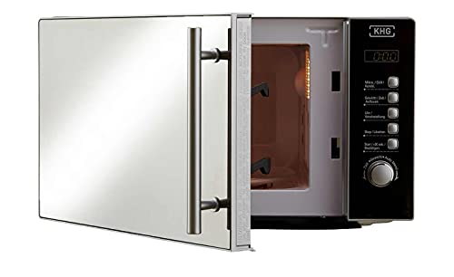 KHG Mikrowelle Silber Glas 43,3cm B x 25,8cm H schimmert je nach Lichtreflex schwarz oder silberfarben