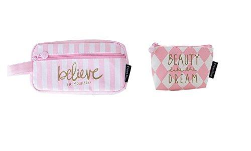 NOVAGO [2 Pack] Astuccio per matite, sacchetto di trucco multifunzione make-up +1 mini borsa da moneta offerto, collection Dreamy (Rosa -Believe)
