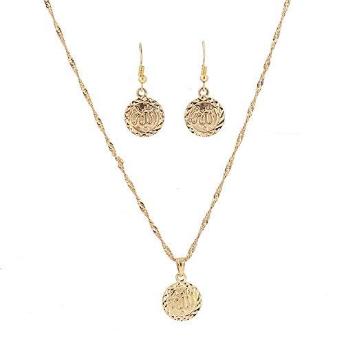 Conjuntos de joyas de color dorado, collar con colgante de Alá, pendientes para mujeres, religión étnica, joyería de moneda musulmana islámica