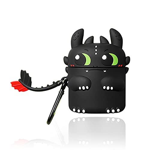 DAZUAN Funda de Silicona de Dibujos Animados 3D para Airpods 1 ,Lindo Demonio de la Noche Aspecto Creativo Fun Impermeable a Prueba de Golpes para la Caja Protectora de Airpod con Llavero(Negro)