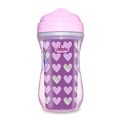 Chicco Active Cup Bicchiere Antigoccia Bambini 266 ml, 1 Tazza Biberon 14+ Mesi per Imparare a Bere, Tazza Termica con Beccuccio Ergonomico Anti Morsi e Valvola Facili Sorsi, senza BPA - Viola o Rosa