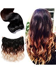 100% Brazilian Remy Human Hair Extensions Ombre Color-Natural Black to Dark Auburn to Dark Blonde-Grade 7A Thick Long Body Wave One Bundle (18inch 100g #1B/33/27)