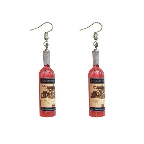 DANLINI Mini Lindo Vaso de Cerveza Botella de Vino Cristal de Resina Pendiente de Gota joyería de Moda para Mujer, Rojo