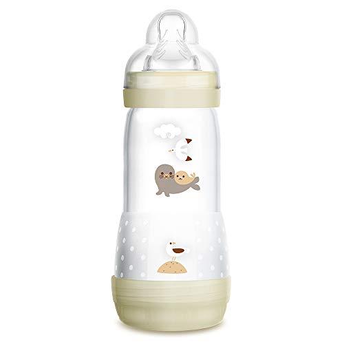 MAM Biberón Easy Start Anti-Colic A125, Biberón Anticólicos patentado con Tetina de Silicona SkinSoftTM ultrasuave, 320ml, para Bebés a partir de 4 meses, Neutro, 1 unidad, Autoesterilizable en 3 min
