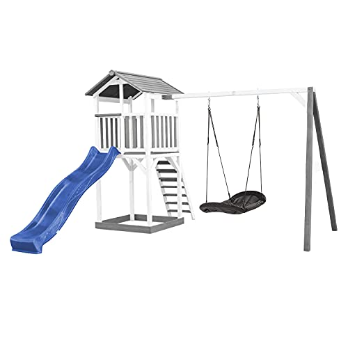 AXI Beach Tower Torre giocattolo in legno bianco e grigio   Casa giocattolo per bambini con scivolo blu, altalena e sabbiera   Casetta per il giardino