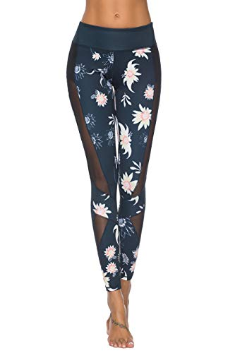 Mint Lilac Women's High Waist Printed Workout Yoga Leggings Athletic Tummy Control Casual Pants with Mesh Panels Navy Blue Large