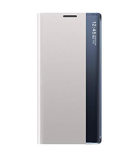 GOGME Hülle für Samsung Galaxy A42 5G Hülle, Handyhülle Business-Stil Voller Chutzhülle Cover Ultradünn Flip Schutzhülle, Magnetverschluss Standfunktion Robuste Silikon Handyhüllen, Silber