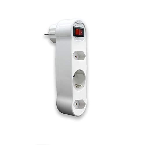Adaptador plano con interruptor luminoso y tres enchufes en fila - materiales de alta calidad.