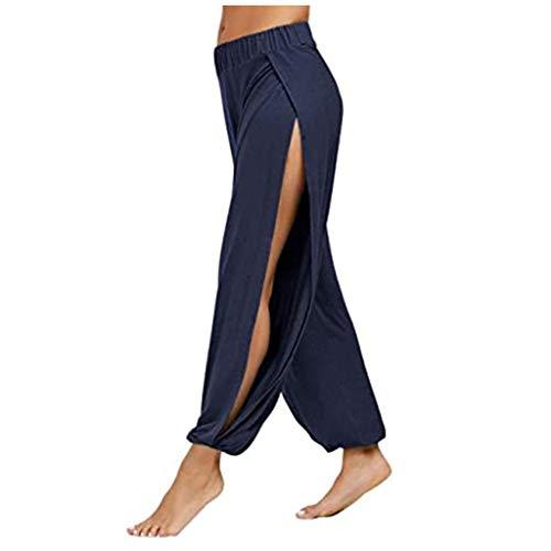 Andouy Damen Pumphose Haremshose Sommerhose Side Slit Yogahose Aladinhose Baggypants Sweatpants(3XL.Dunkelblau)