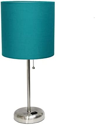 Limelights AET4202 TEA Charging Base Fabric Shade Table Lamp Dark Turquoise product image
