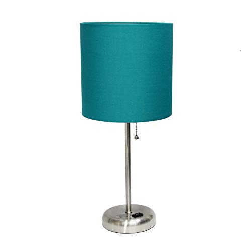 Limelights AET4202-TEA Charging Base Fabric Shade Table Lamp, Dark Turquoise